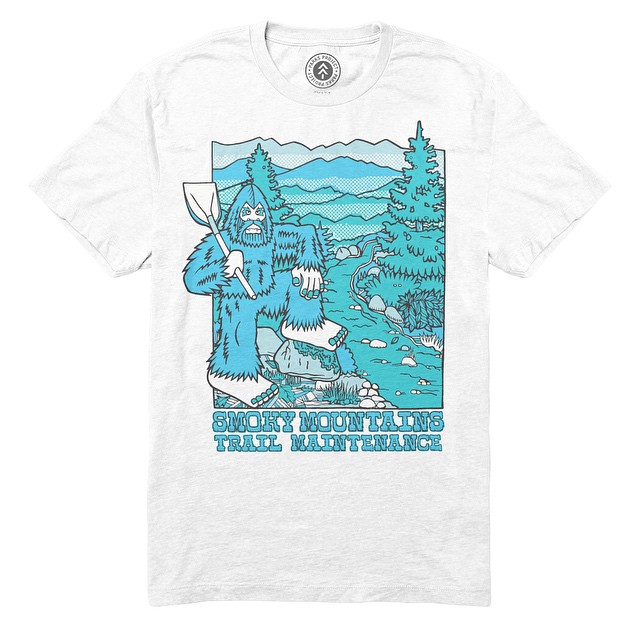 It's no myth, trail maintenance is hard work. That doesn't stop Big Foot breaking dirt in the Smoky Mountains! Shop parksproject.us to get your very own @BigfootOne x Parks Project collab tee! #bigfootone #stewardsofparks #parksproject