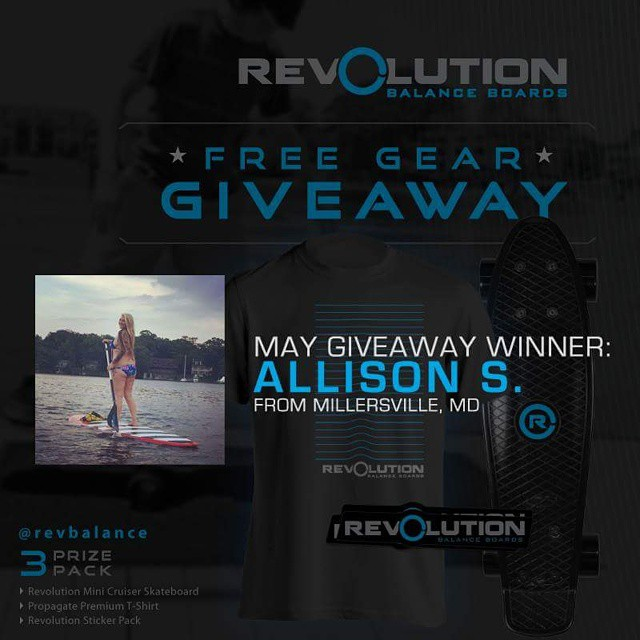 Congratulations to Allison S from Maryland. She's our May Winner for our free gear giveaway.  #revbalance #findyourbalance #boardsports #balanceboards #madeinusa #balanceskills #progression#supportyourriders