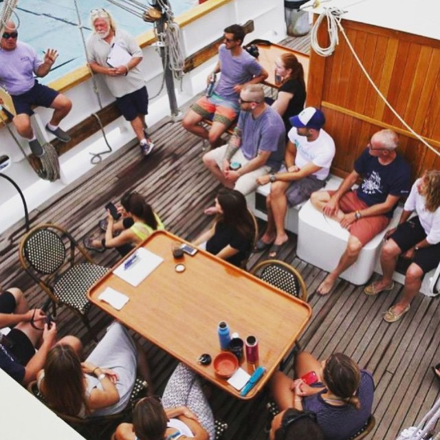 Mid-ship muster on the Mystic. Being amongst these wave-makers on the #seachange Expedition is such motivation to keep pushing towards positive change! @5gyres @jackjohnson @trashisfortossers @cuppow #aaoplasticfree