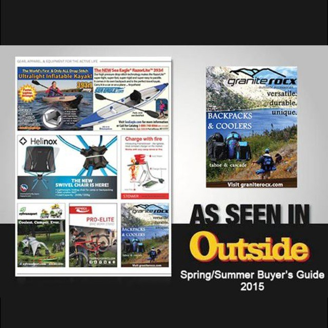 We are excited to announce that Granite Rocx is featured in Outside Magazines Spring/Summer Buyer's Guide!  Pick up your #pack for the Summer.  Take it to the #beach, on a day #hike, #fishing, any #outdoors event, or any other traveling #adventure!...