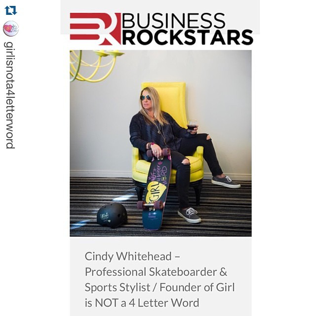 #Repost @girlisnota4letterword: it's on! Watch Cindy Whitehead's live interview on BusinessRockstars.com ・・・ The show starts in 45 minutes & I'm so ready!!! Today's the day we unleash the new Dusters x Girl is NOT A 4 Letter Word longboard and we're...
