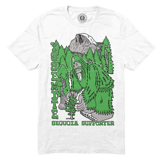 Spotted: Bigfoot planting trees in Yosemite National Park! Shop parksproject.us, and choose from 3 designs from our collaboration with rad artist @bigfootone! #stewardsofparks