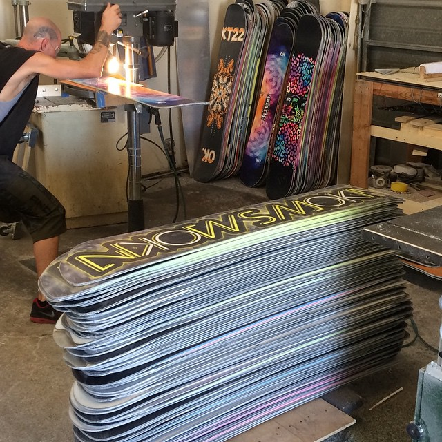 Our boy #Doug getting on it in our finishing department. The base finish on this production is the best to date and the new decks are all around 1/2 pound lighter than last seasons production due to a few new tweaks in our recipe. #forridersbyriders...