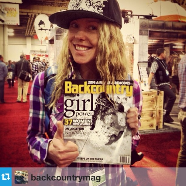#Repost from @backcountrymag with @lynseydyer repping the Women's Issue. If you haven't seen it, @shejumps programming and Lyns are recognized for contributions in outdoor awesomeness. #orshow #skiing #jumpout #skilikeagirl #ladyshred
