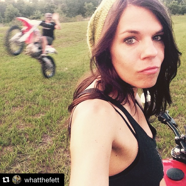 Nailed it!  #Repost @whatthefett ・・・ When your trying to take a super sweet selfie on the CB and @matkinson36 does the best photo bomb! Missing dirtbikes, tired of being injured! #hi!