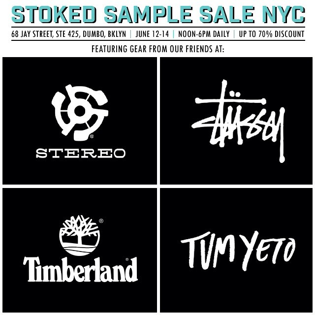 In just one week, find amazing deals at our #NYC #charity #samplesale featuring @stereoskateboards @stussy @timberland @tumyeto and more! June 12,13,14 from noon-6. #sale #nycsamplesale #dumbo #Brooklyn #benefit #shopping #clothing #shoes #skate #surf...