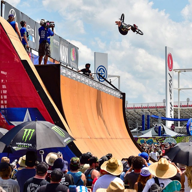 @vincebyron puts a stop to Jamie Bestwick's BMX Vert dominance.  Today he took home his first #XGames GOLD. (