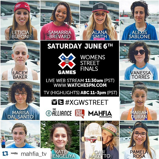 #Repost @mahfia_tv with @repostapp. ・・・ Watch @xgames women's street finals LIVE this Saturday! [Webcast] www.watchespn.com 11:30am PST [TV] 11-3pm PST on ABC (highlights only) Tag your photos #xgwstreet