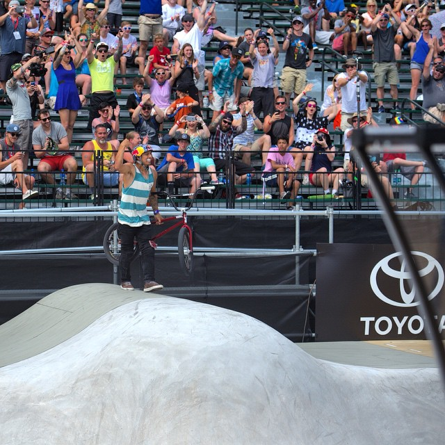 Raising the bar even higher!  Congrats @daniel_sandovalbmx on taking home @toyotausa BMX Park GOLD at #XGames Austin 2015. (