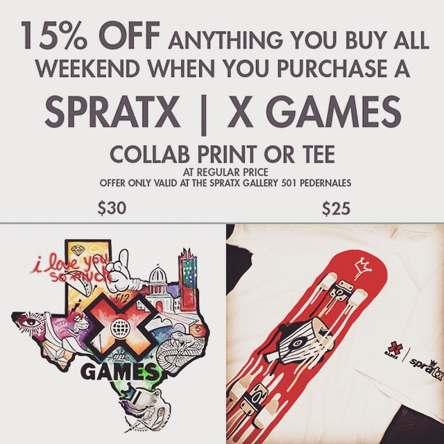 Starting today purchase a @xgames   SprāTX collab tee or print and get 15% off any other purchases in the store! • • #ATX #austintx #Texas #tx #xgames #xgamesatx #xgames2015 #spratx #merch