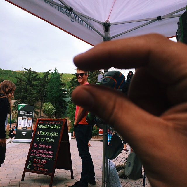 We're at the @mountaingamesvail doin things. Come by if you're in Vail! We're doing Instagram giveaways and smashing tiny heads with giant hands! #gopromtngames #headsmash