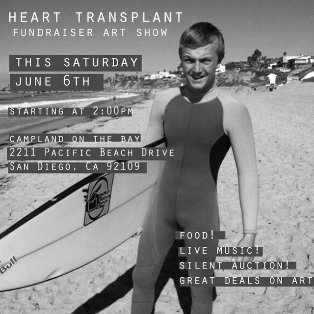 Come show your love and support to this beautiful young human being. Jacob Kilby is a 19 year old San Diego surfer hosting along with his family a fundraising art show (showcasing local donated art) to help raise money for his heart transplant....