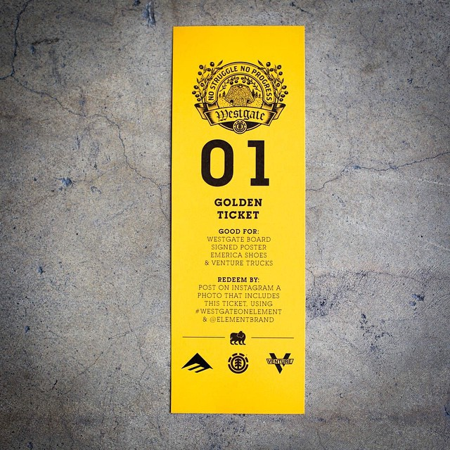 Have you gotten a golden ticket yet? Be the first person to buy a Westgate board from one of these shops and you win a golden ticket that's good for a pair of @westgatebrandon's @Emerica shoe, @Venturetrucks, a tee and signed poster from #element...