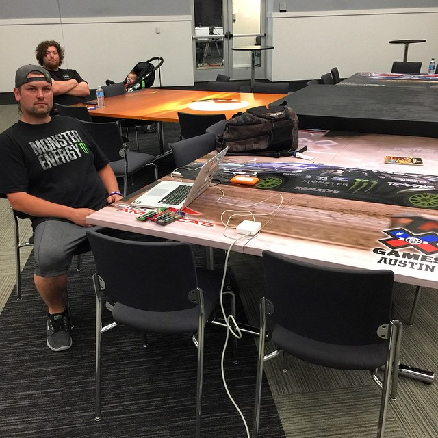 Found a sweet table to work at in the @xgames media centre today