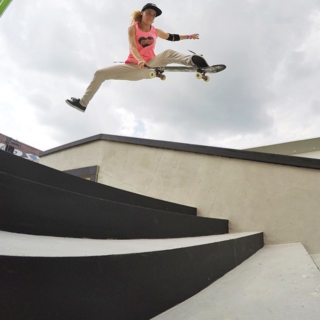 @gabimazetto with possibly the most fun and awesome trick ever, Benihana! Women's street is going down on #xgames @carampworks street course tomorrow!
