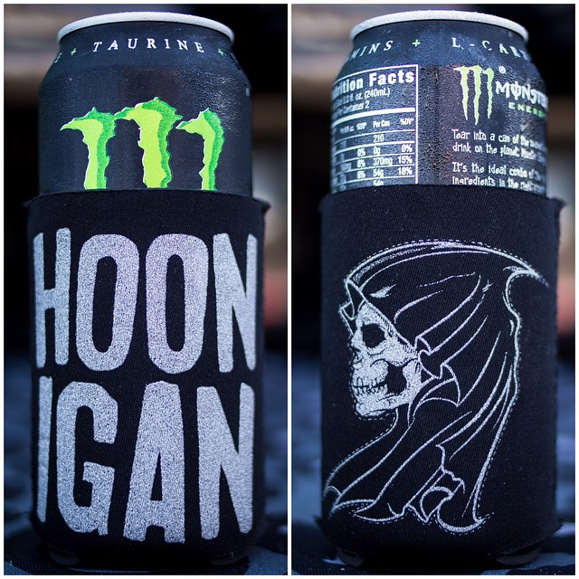It's HOT here in Texas this morning! Keeping my @MonsterEnergy chilled with this new koozie from @TheHoonigans. Available soon. #poppedamonsterimsweatin #texastoasty #XGames2015