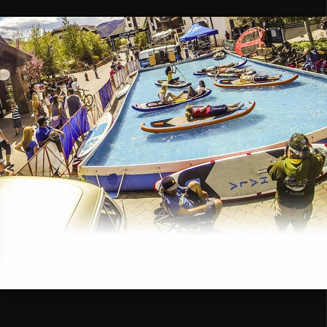 It you haven't tried a stand up paddle board before come by the pool and check it out! Lots of great boards to try out @mountaingamesvail !!! #HalaGear #WhitewaterSUP #standuppaddleboard #paddleboardyoga #supdemo