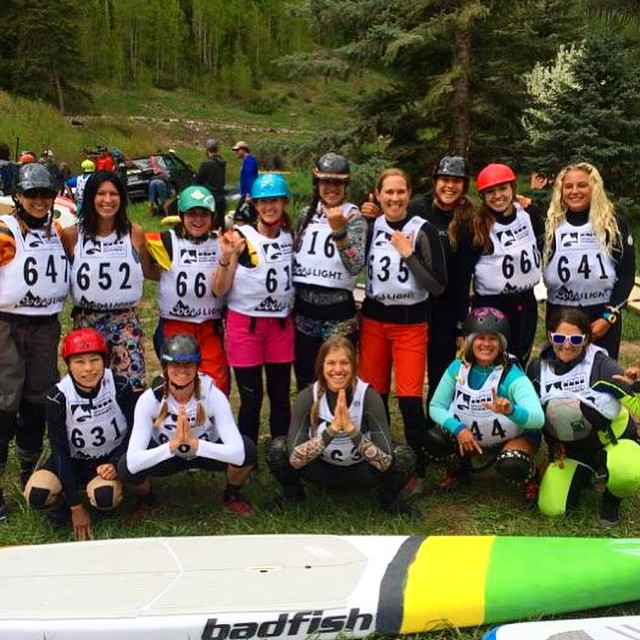Strong work ladies on the downriver sprint here at the @mountaingamesvail!! #gopromtngames @gopro @boardworkssurfsup @badfishsup #welivewater