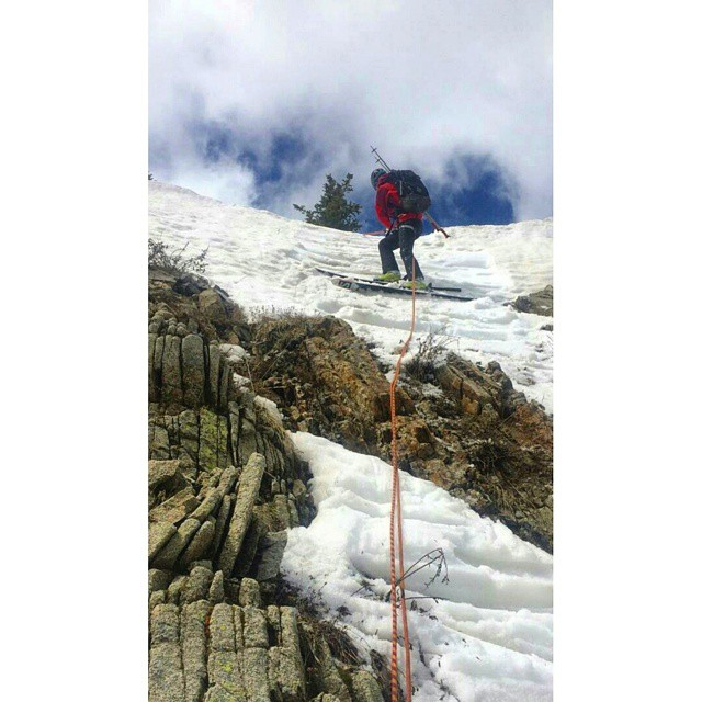 Skinned over rocks, rappelled into Wolverine Cirque, skied some tasty corn, and booted out over snow and scree. Adventure skiing at its finest today | PC: @mtn_miles | #KeepTheWasatchWild #notoverit