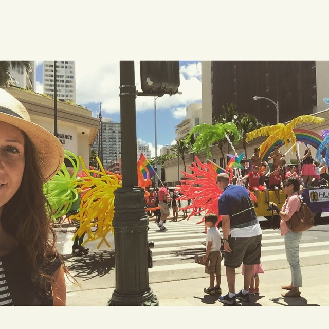 I'm not usually one to #selfie, but the #pride #parade at #waikiki is making me feel quite at home