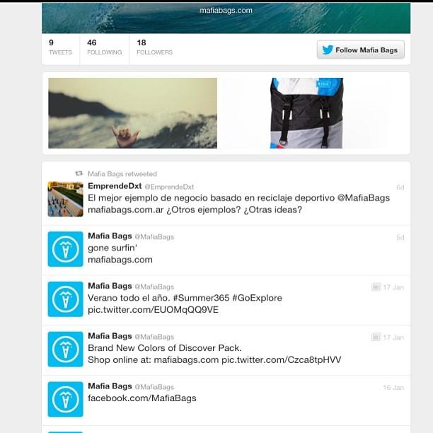 #vuelapajarito  Ahora Mafia tiene #tweeter!  Nos pueden seguir en @mafiabags . #gonetechi