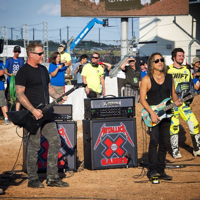 @metallica warming up for their set tonight with the National Anthem! #XGames (