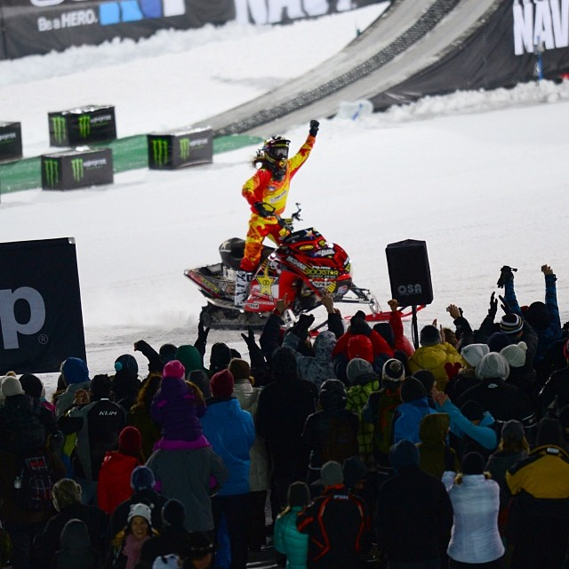 Victory lap with his brother looking down on him! Colten Moore ( @colt45moore ) kicks off X Games Aspen with a GOLD in Snowmobile Freestyle! #rideforcaleb