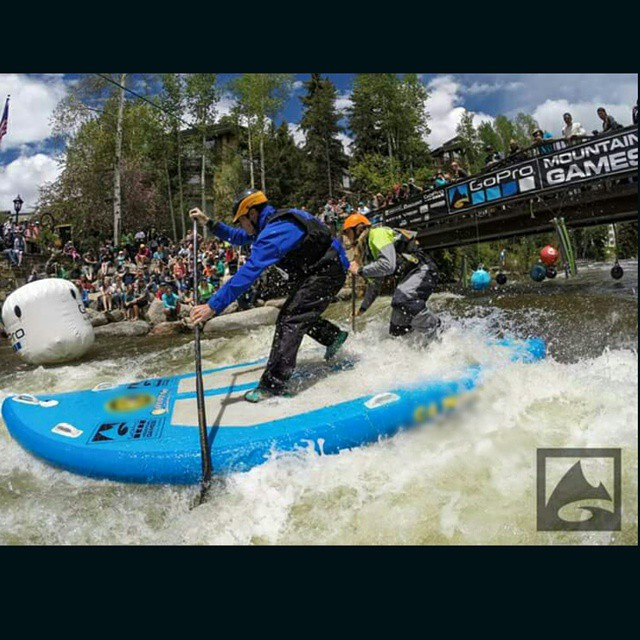 Hala Gear athletes @mattpaula and @jeremiahwill1 entertain the crouds in the S2 SUP Cross at 2015 #gopromtngames !!