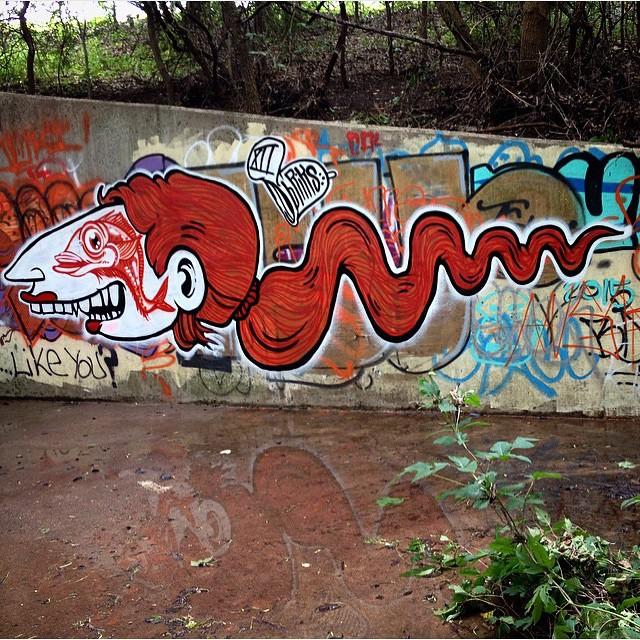 @brikslovesyou • • Fish eye! • • #ATX #austintx #tx #texas #bluedozencollective #bdc #briks #spratx #graffiti #grafite #streetart #atxstreetart