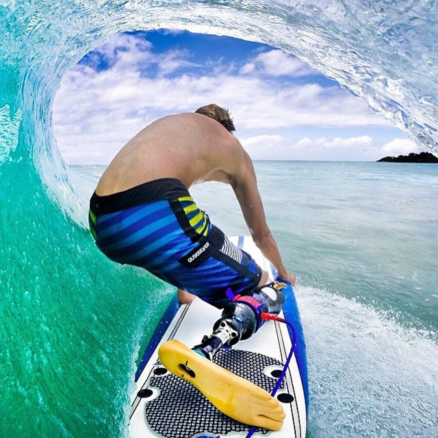 Mike enjoys the view while getting himself barreled! This is how it's gonna feel like when you and your friend win the trip to Hawaii
