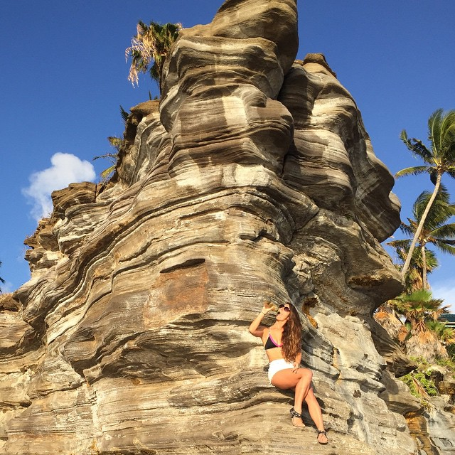 My dad told me that drinking and playing by the cliffs is always a good idea.  #mydadhatesme #cliffdivingonaccident #butididntdropthebottle #beach #surf #bikini #caterpillar