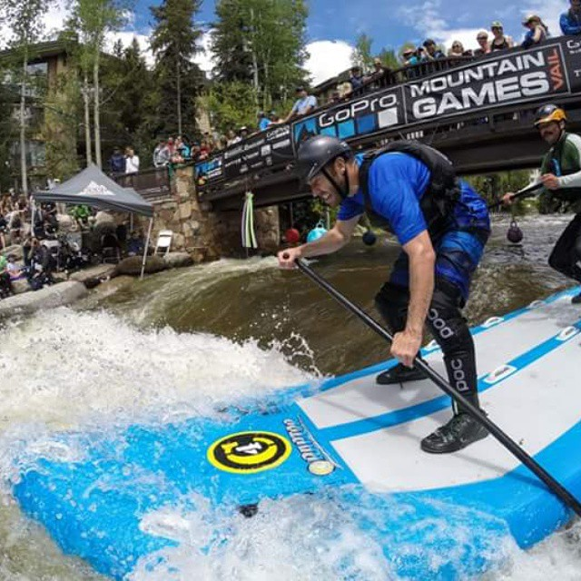 John rocking a #superscrappy while having some fun during the #SUP doubles at the #mountain #games in #Vail over the weekend.