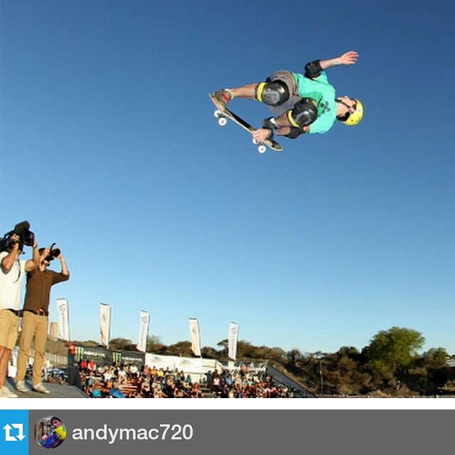 #Repost from @andymac720 — #tbt 720 on the big 1/4 pipe down in S. Africa @kimberleydiamondcup @positivskate @airwalk_online