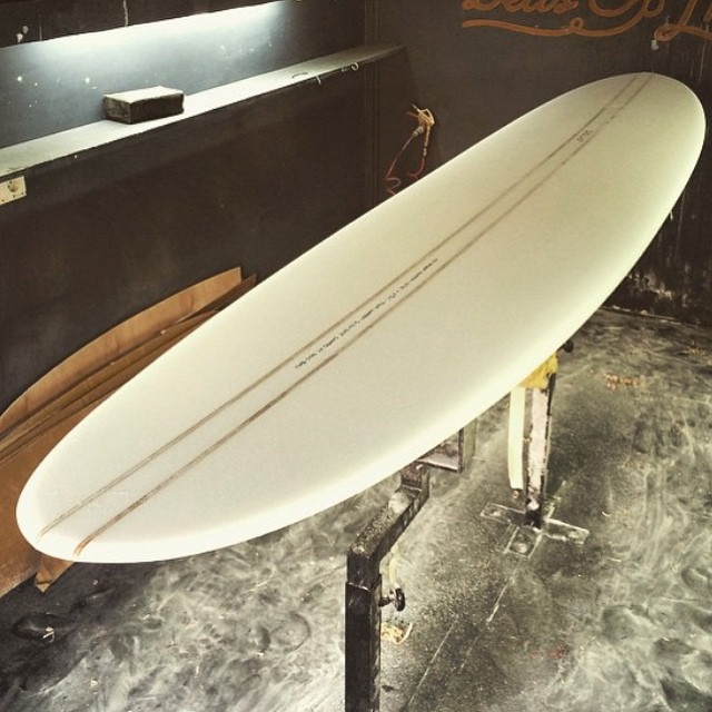 "@tyler_warren is just off the jet in Bali and straight into the shaping bay to create this beautiful 9'3"" for the '9-foot and Single' event. Check back for more updates from Tyler's adventures in Indo including his art show. #theBillabongdaily"