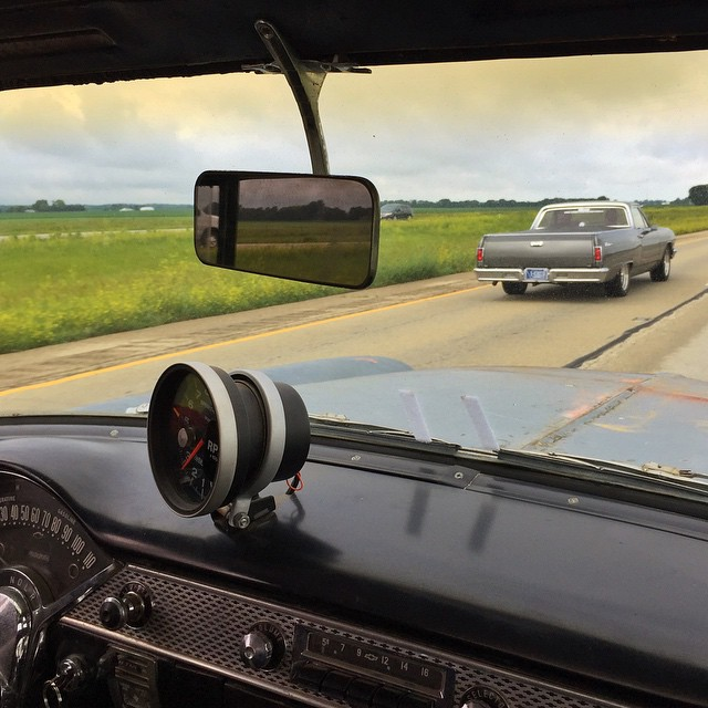On the road again in @jchase7452's #tri5byfire 55 Chevy on #powertour2015. Already had one mishap today with a snapped alternator bracket (Thanks Arrow Trailers for the weld!), but we spent the time down getting the overdrive to work again, so now we...