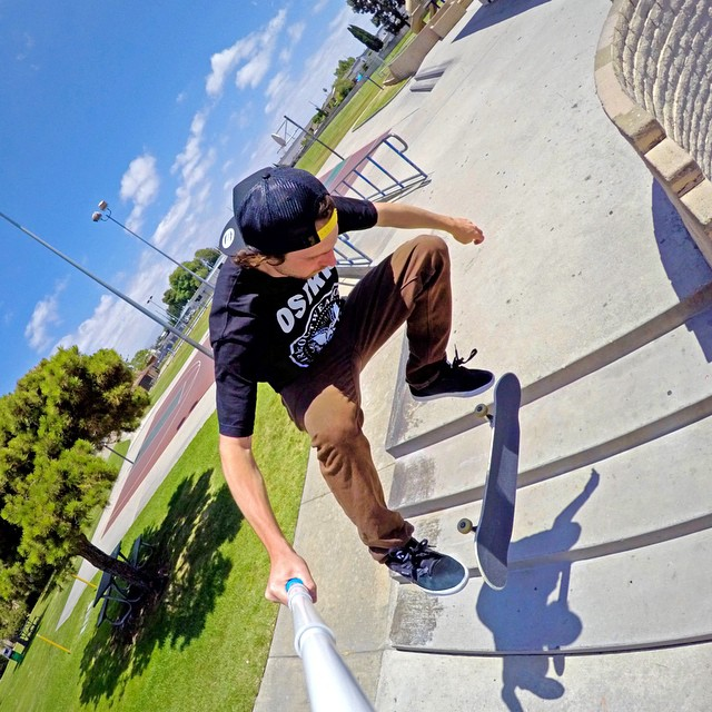 @greglutzka snagged this kickflip selfie using his HERO4 in Time Lapse Mode and GoPole Reach. #gopro #gopole #gopolereach #skateboarding #skateboardingisfun