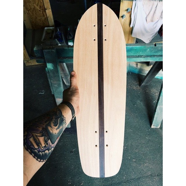 Wenge and oak. Mmmmm. Thanks @jonathanmalphrus for hooking us up with the wenge. #handmadeskateboard #Nashville