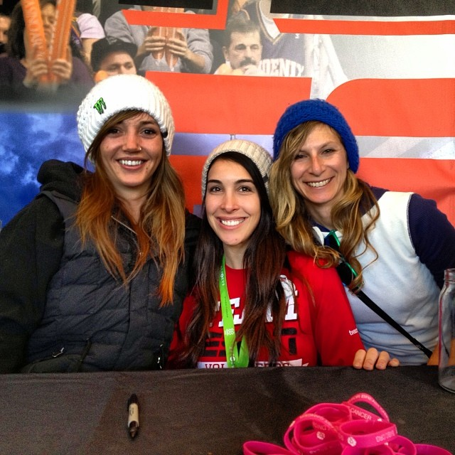 Great to see the #gobigdogood spirit @xgames @b4bc booth - @rachshredgnar hanging with @lizatags and pro snowboarder @kaitlynfarr whose competing in women's pipe tomorrow night! #xgames #snowboarding #giveback