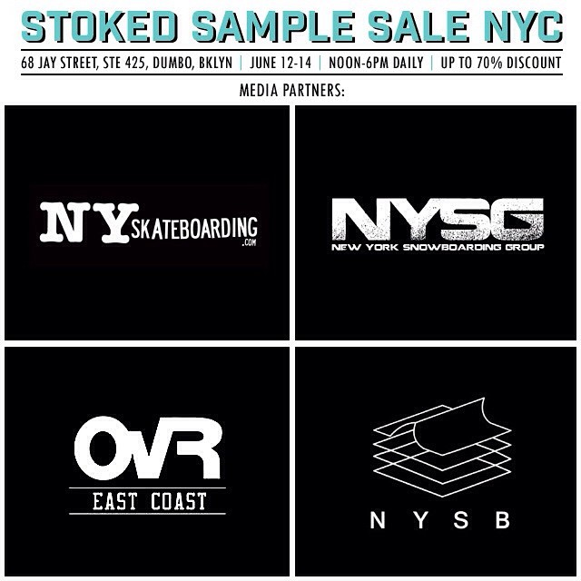 Sending a huge #shoutout to our #samplesale media partners @nyskateboarding @ovrride @NYSurfbuddies and NY Snowboarding Group! Come #shop our #nycsamplesale this Friday, Saturday & Sunday from noon to 6pm and support Stoked! #weekend #shopping #sales...