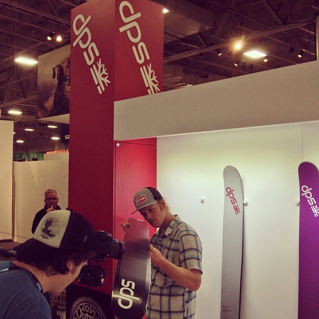 The crew from @liteprogear using their carbon camera crane to film the #dpsskis Spoon and #SpoonTechnology line @outdoorretailer #orshow.