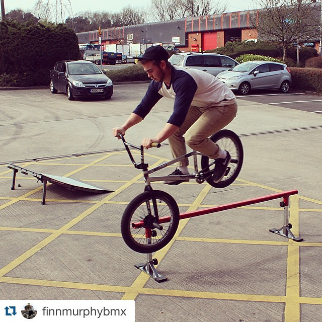 !!! @finnmurphybmx #bmx #grindrail #launchramp. Tag us in your #freshpark photos for a repost!