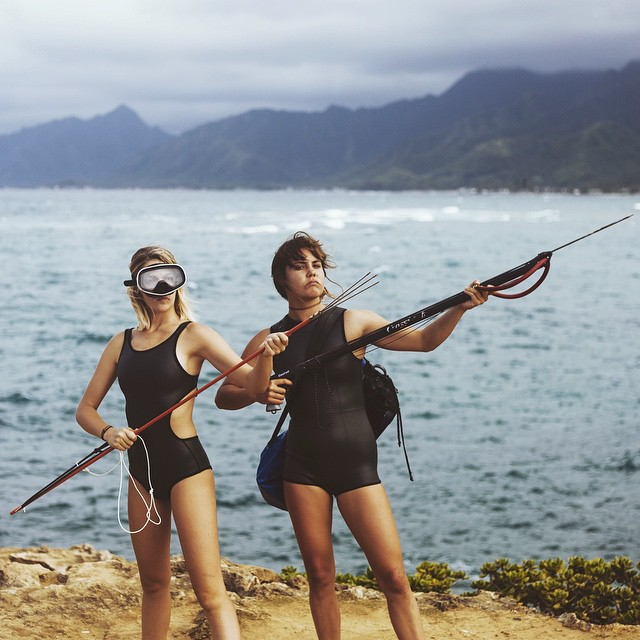 Dressed to catch @_lucrecia_ and @mharmony ready to catch dinner in our newest neoprene #seeamartinique #seeacardiff #myseealife #seeababes