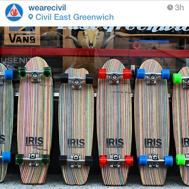 Iris skateboards is proud to be sold at @wearecivil in my home state of Rhode Island!