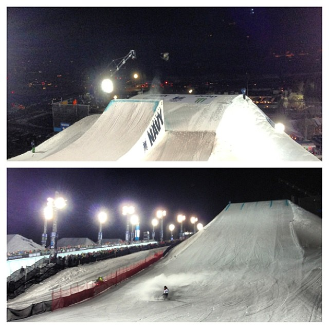 Big Air Finals ramping up now - the jump is huuuuge! @xgames #snowboarding #bigair #xgames
