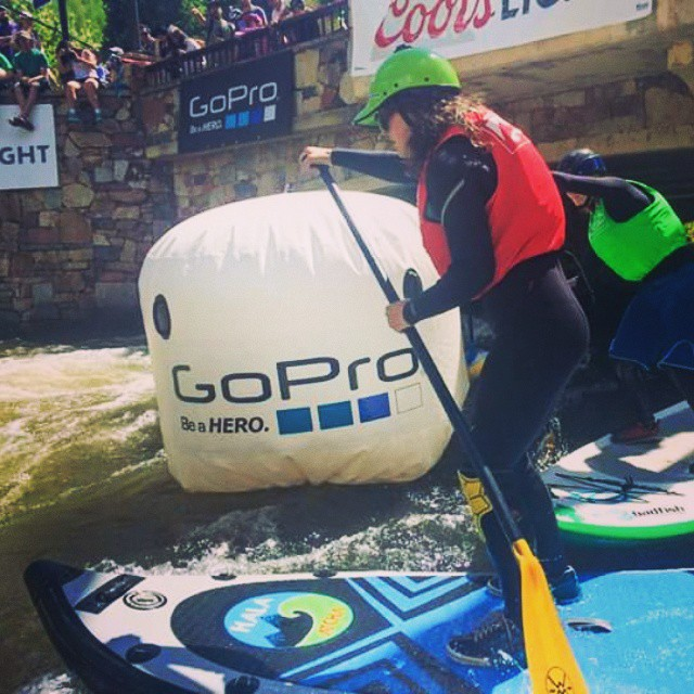 Hala Gear athlete @ashleyebean in battling it out during the #gopro @mountaingamesvail SUP Cross! #HalaGear #WhitewaterSUP #standuppaddleboard #theweeklyinsta #standuppaddle #supracing #whitewaterdesigned