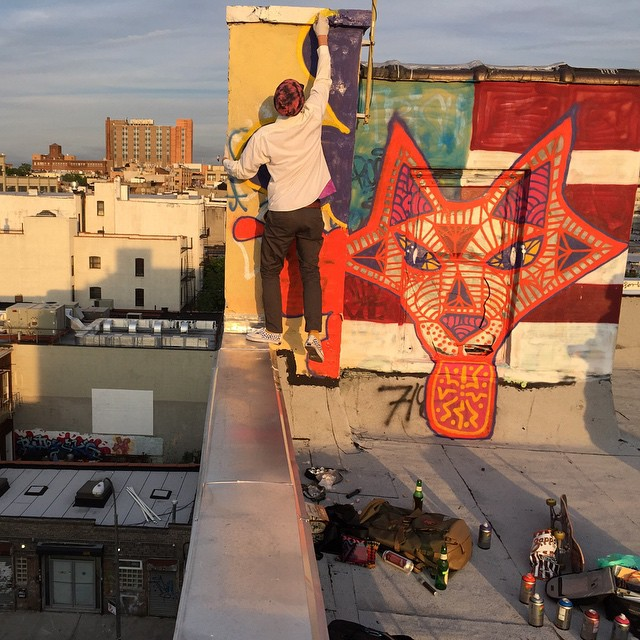 #ElementAdvocate Mike Kershnar (@huskyroundup) putting the final touches on a NYC rooftop mural. Click the link in our bio to watch a short film on the making of this mural >>> Photo: @margeviciousman #mikekershnar