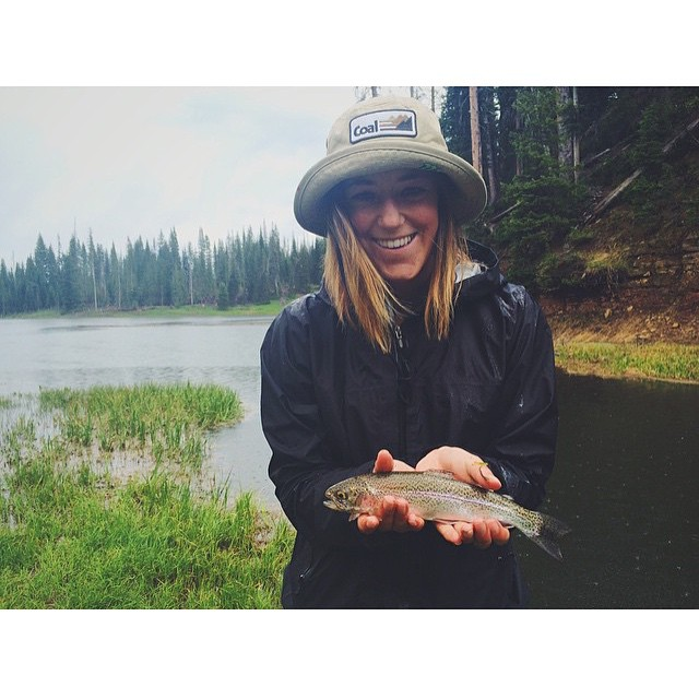 When Olympian Skier @britasig isn't flying out of the Superpipe she's wrangling super fish like this one!