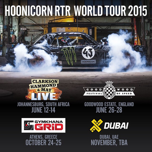 Kicking off my Ford Mustang Hoonicorn RTR's world tour this weekend at the Clarkson Hammond and May Live show in South Africa. Pretty awesome to see all the different parts of the world I'm going to be driving it in this year. Check out the graphic to...