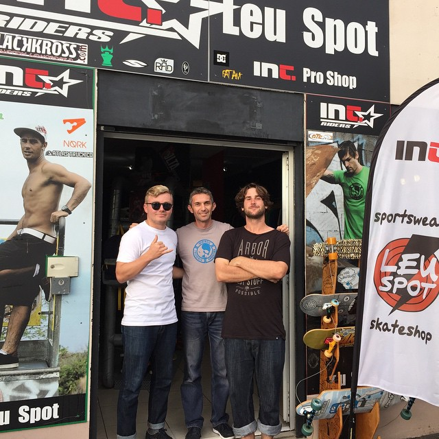 @liam_lbdr_ and @jameskelly_shm visited #leuspot skate shop on Reunion Island today. Rad spot and they'll be carrying Caliber very soon!
