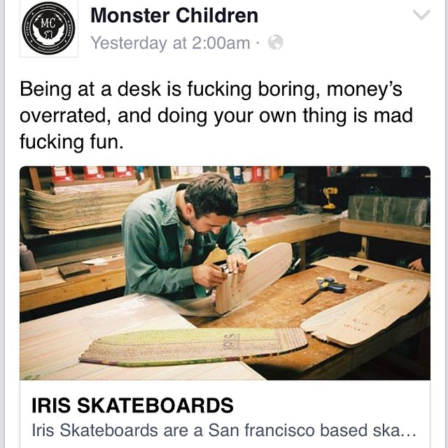 I'm honored to be featured in a recent Monster Children article written by the talented Zach Baker. Check it out here: http://www.monsterchildren.com/34334/iris-skateboards/ #recycledskateboards #irisskateboards